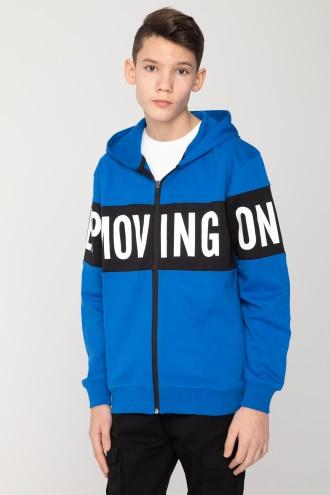 Niebieska bluza z kapturem MOVING ON dla chłopaka