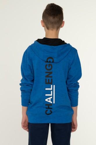 Niebieska bluza z narukiem na plecach CHALLENGEdla chłopaka