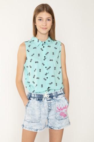Niebieska koszula bez rękawów w ananasy dla dziewczyny