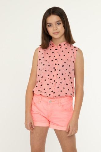 Brzoskwiniowa koszula bez rękawów dla dziewczyny
