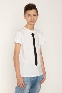 Biały T-shirt dla chłopaka z krawatem