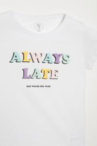Biały T-shirt dla dziewczyny always late by SONIA  ŻUGAJ