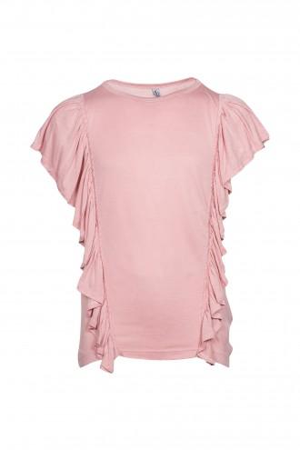 T-shirt dziewczęcy z ozdobnymi falbanami Pink Angel