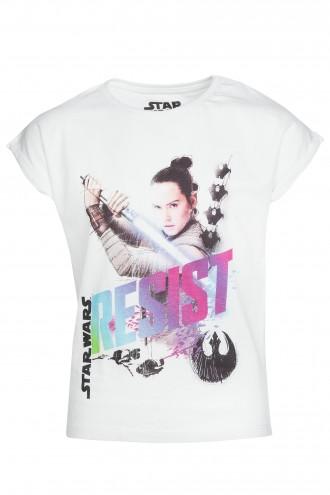 T-shirt biały dziewczęcy RESIST STAR WARS