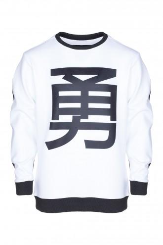 Bluza dwukolorowa z azjatyckim znakiem