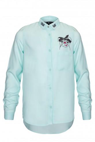 Koszula miętowa z nadrukiem na plecach