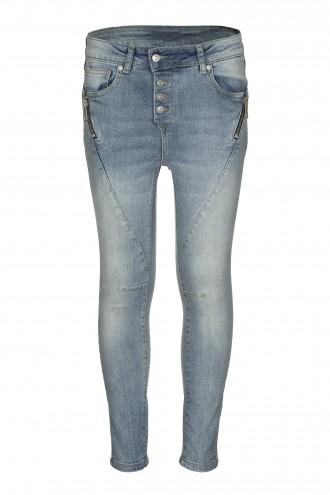 Spodnie dżinsowe z przetarciami i ozdobnymi zamkami