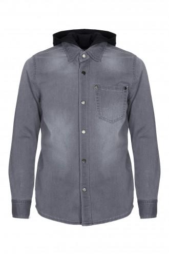 Koszula dżinsowa z bawełnianym kapturem
