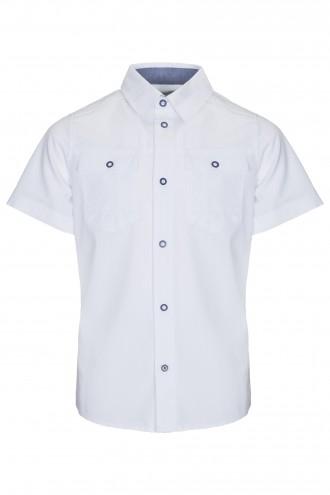 Biała koszula z krótkim rękawem LOOSE