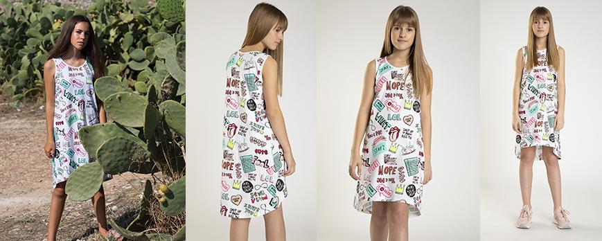 Sukienka z kolorowymi nadrukami