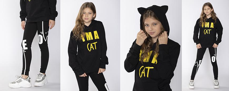 Czarna bluza dla dziewczyny CAT