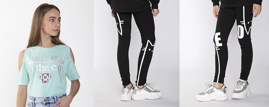 Czarne legginsy z nadrukiem