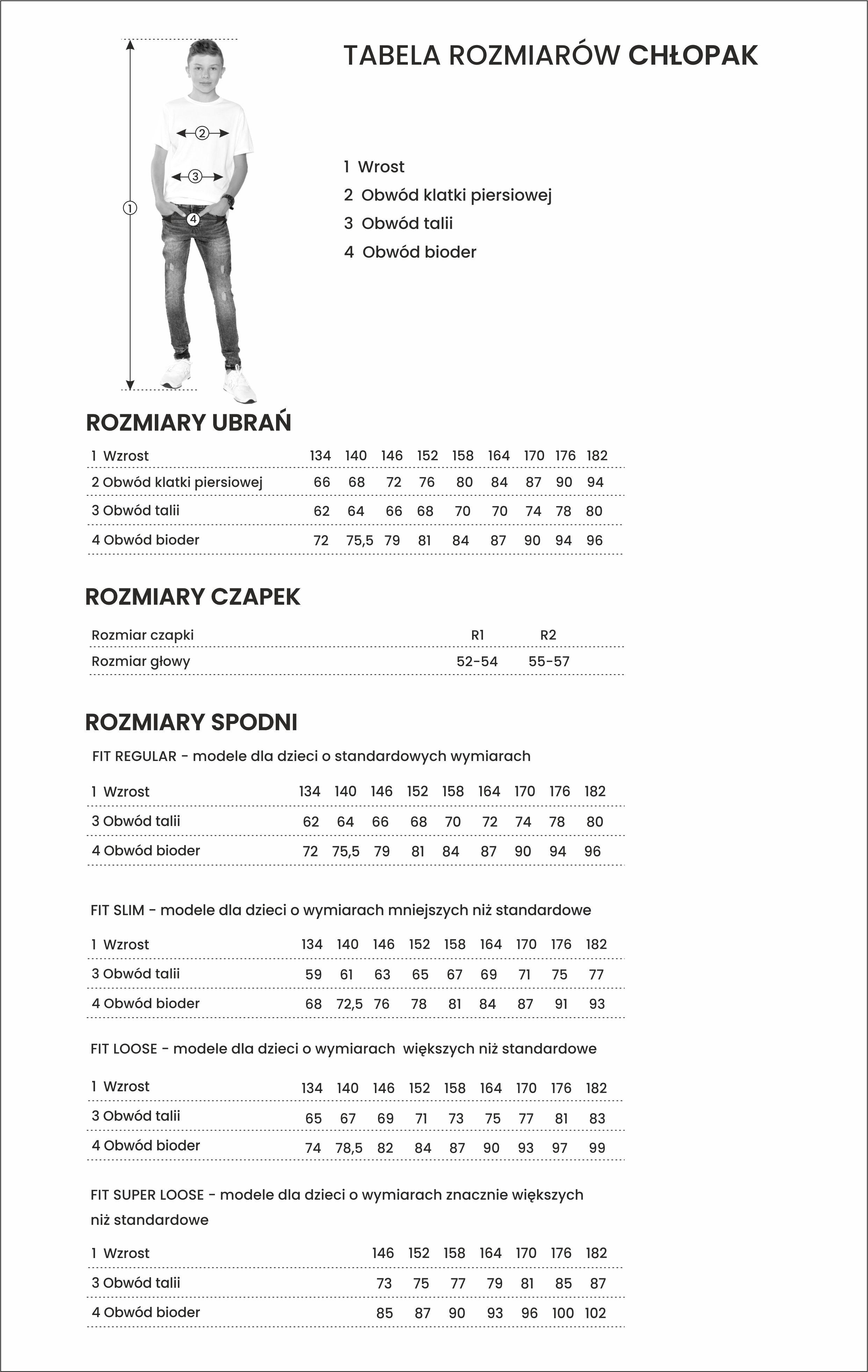 Tabela rozmiarów dla chłopaka